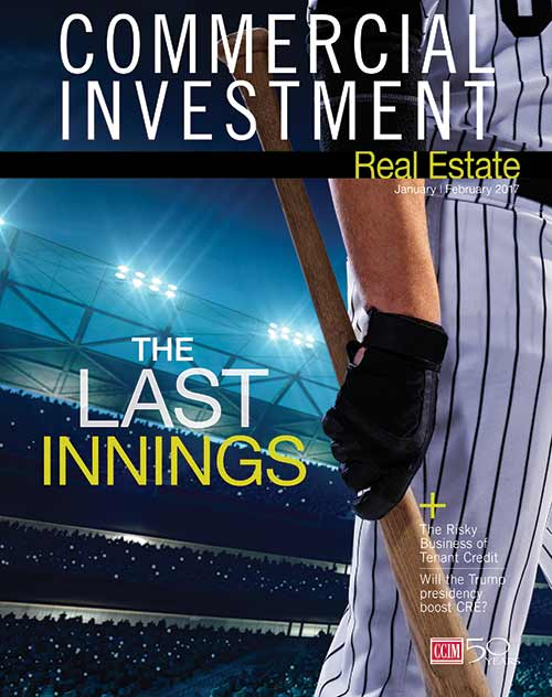 Commercial Investment Magazine cover for January/February 2017. Shows baseball player with bat in had next to cover story title: The Last Innings