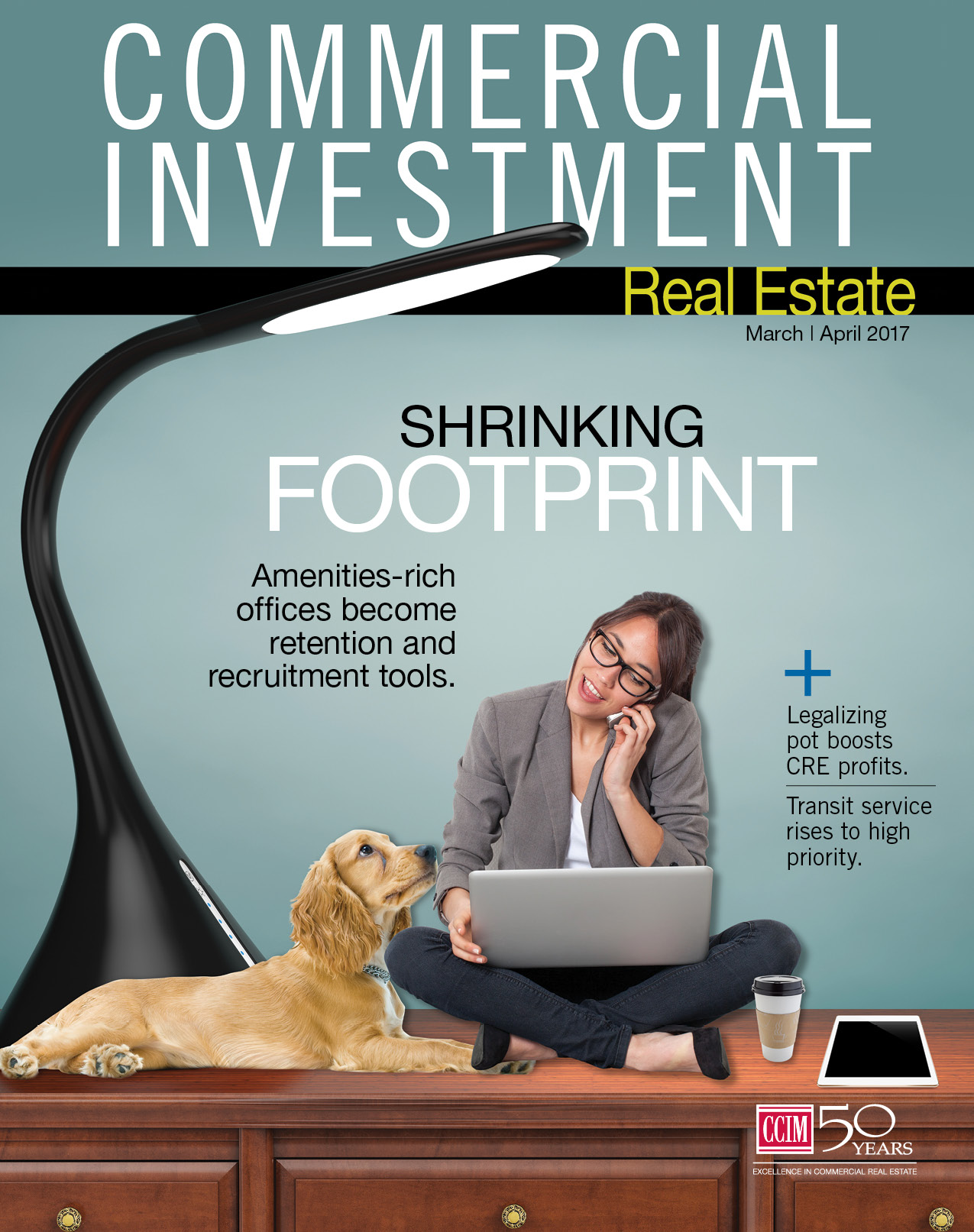 Commercial Investment Magazine cover for March/April 2017. Shows a young woman sitting on a desk with a laptop cramped under and oversized lamp between a dog, her phone, a tablet, and coffee. Cover story title says: Shrinking Footprint: Amerinites-rich offices become retention and recruitment tools.