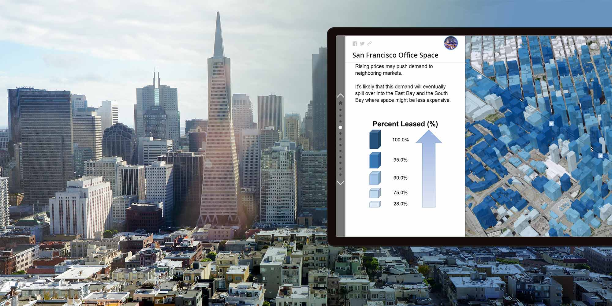 A tablet showing vacancy softwware running reports on San Francisco office space. The background behind that is the San Francisco skyline.